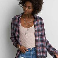 AEO Ahh-mazingly Soft Plaid Shirt , Pink