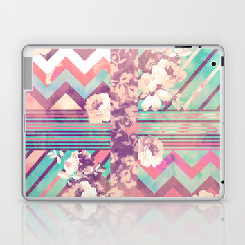 Retro Pink Turquoise Floral Stripe Chevron Pattern Laptop & iPad Skin by Girly Trend