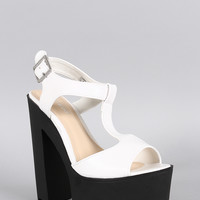 Bamboo Two Tone T-Strap Lug Sole Platform Heel