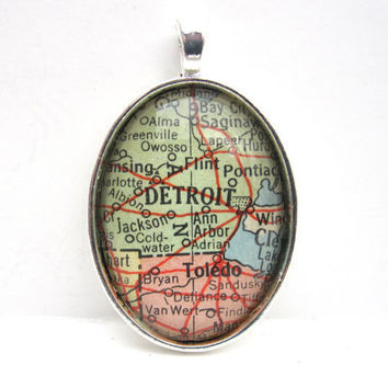 Vintage Map Pendant of Detroit Michigan in by CarpeDiemHandmade