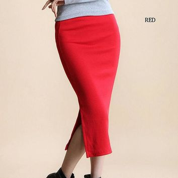 LMFHY3 YI-NOKI Winter Autumn Long Skirt Fashion Sexy Solid Color Cotton Skirts Womens Maxi Skirt  High Waist Elasticity Pencil Skirt