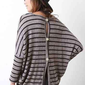 Buttoned Back Stripe Knitted Sweater