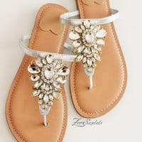 Elegant Shoes by Zee Sandals, Summer Sandal with Sparkling Jewels for Destination Beach Wedding (Style: AHAVA)