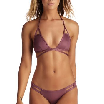 Vitamin A Swim Serra Keyhole Wrap Top in Tea Rose Ecolux- Large
