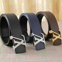 Louis Vuitton LV New fashion water ripple women and men high quality belt three color