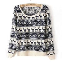 Navy Long Sleeve Deer Pattern Knit Sweater