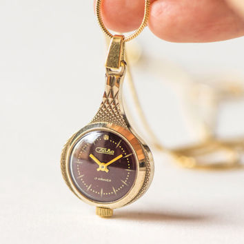 Gold plated watch pendant, drop shape lady's watch pendant, dark burgundy face watch, anniversary gift watch pendant her, 70s fashion lady