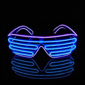 PINFOX Shutter EL Wire Neon Rave Glasses Flashing LED Sunglasses Light Up Costumes for 80s, EDM, Party RB03 (Purple - Blue): Gateway