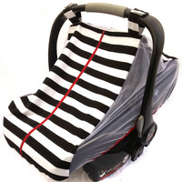 Fitted cotton car seat cover for spring/summer - black and white striped fitted infant carseat canopy - Mosquito net baby carseat cover