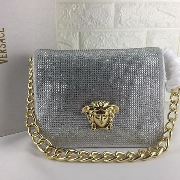 DCCK V0002 Versace Suede Diamante Chain Type Carrying Handbag 24-11-18cm Sliver