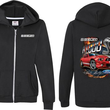 Ladies Ford Mustang Full Zip Hoodie Red Shelby GT500 Front and Back