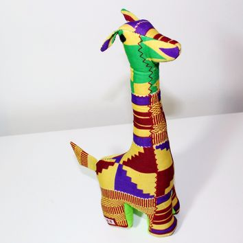 "Kente cloth stuffed animal, toy- Tall ""Gigi"""