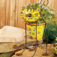 Colorful Metal Outdoor Garden Planter Cat Shaped - Porch Patio for Herbs Flowers