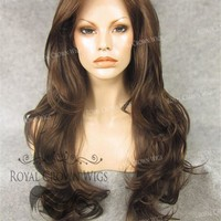 "26"" Heat Safe Synthetic Lace Front ""Constance"" with Curly Texture in Medium Brown Mix"