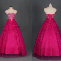 2014 long rose red tulle prom dress with sequins,sweetheart quinceanera dresses,vintage beaded ball gown gowns for holidy party.