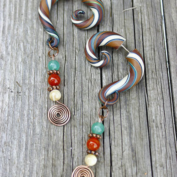 Dangle earrings, Fake ear plugs, fake gauge earrings, clay gauged, copper spiral, gemstone, gypsy earrings, festival jewelry, stripe gauges
