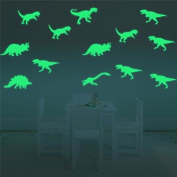 9Pcs Glow In The Dark Dinosaurs Toys Stickers Ceiling Decal Baby Kid Room