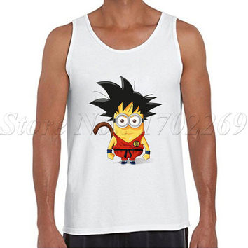 Super Saiyan Super Minion Men tank tops fashion men Son Goku cartoon printed minons Vest hipster funny singlets