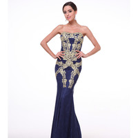 Navy & Gold Lace Strapless Mermaid Gown 2015 Prom Dresses