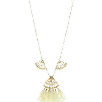 Lyric Fan & Tassel Necklace