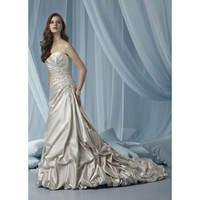 Fashionable sweetheart dropped waist satin wedding dress
