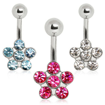 316L Surgical Steel Navel Ring with Daisy Flower