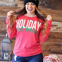 * Holiday Hot Mess L/S Top: Red