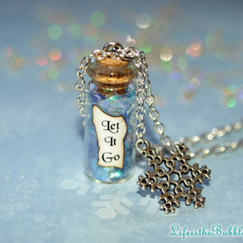 LET IT GO Disney's Frozen Magical Flakes and a Snowflake Charm Necklace by Life is the Bubbles