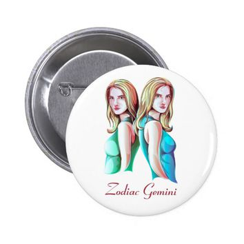 Zodiac Gemini Twins Sign Round Button