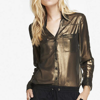 LIMITED EDITION GOLD FOIL PORTOFINO SHIRT from EXPRESS