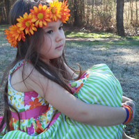 Daisy Headband, Daisy Flower Crown, Flower Headband, Orange Daisies, Coachella, Hippie Headband, Daisy headband, spring,