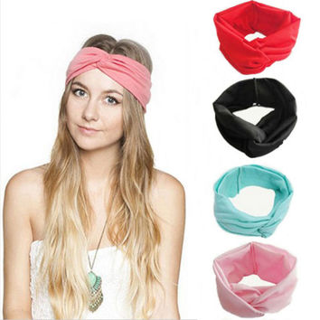 Women Solid Color Turban Twist Knotted Hairbands Head Bands Head Wrap Headband Hair Bands Hair Accessories