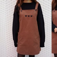 Embroidered Heart Detail Overall Dress | MIXXMIX