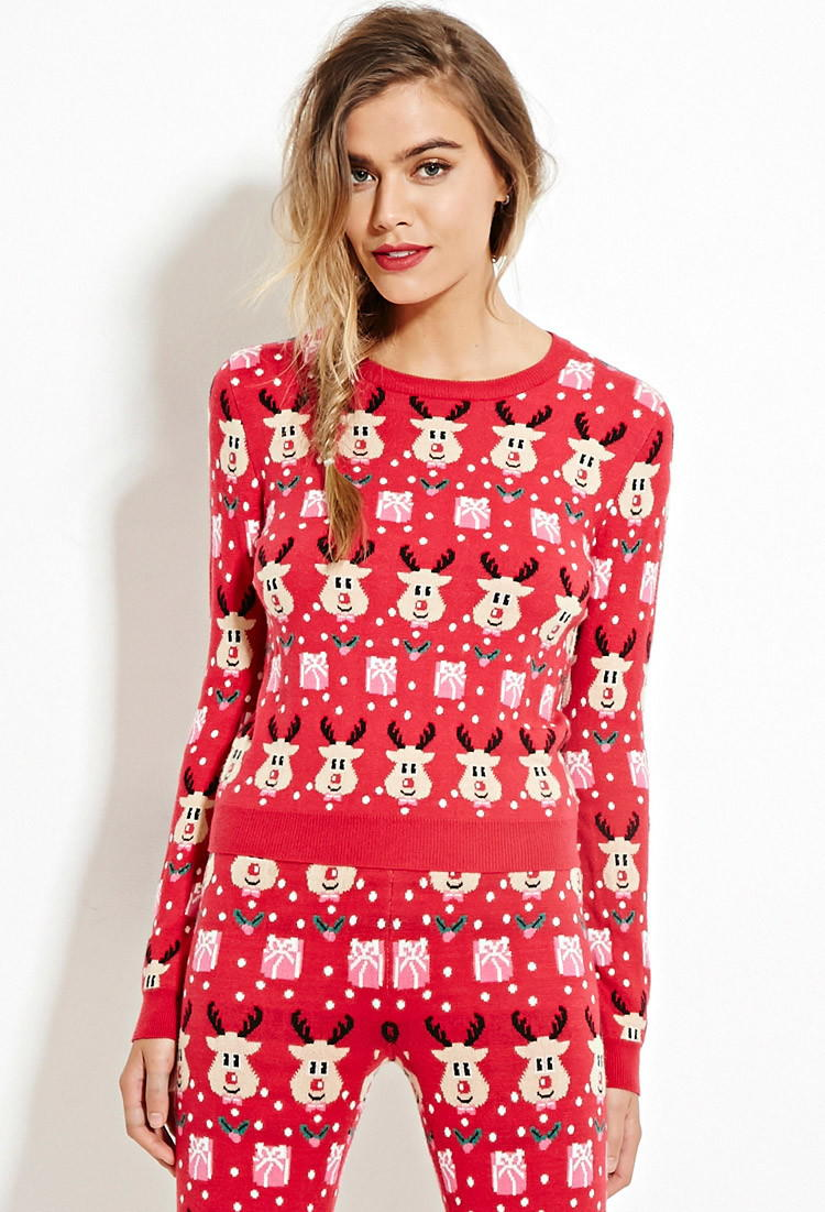 6dc607ad12 Reindeer-Patterned Sweater - Shop All - from Forever 21