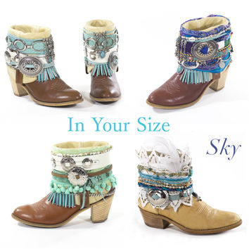 Decorated BOHO Cowboy Boots Vintage Boots Boho Festival Boots Avant Gardy Gypsy Custom Made To Order