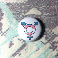 Transgender Symbol with Flag Pinback Button or Magnet