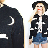 Moon Star Cloud Print Angora Black and White Cardigan Sweater XS