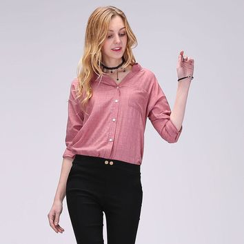 Summer Women  Shirt Stand Collar Solid Ladies Tops
