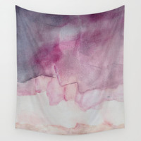 """Wall tapestry with fine art print. Abstract watercolor painting in soft purple, pink, beige. """"Do the Skies Crumble"""""""