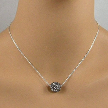 Black Diamond Pave Crystal Ball Silver Chain Necklace