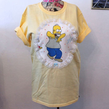 Homer Simpson chevron lace heart short sleeve