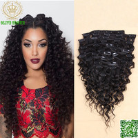 Curly Brazilian Virgin Human Hair Extensions Clips Ins