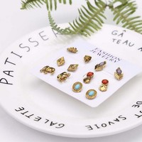 6 Pairs/set Fashion Simple Geometric Shapes And Gems Earrings 171120