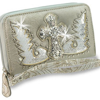 * Rhinestone Cross and Sequined Wings Accordion Wristlet Wallet In Pewter