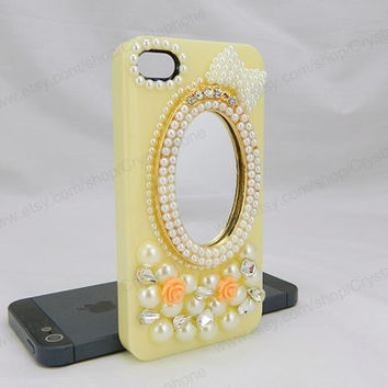 Mirror Pearl Flower bling iphone 6 case iphone 6 case iphone 5S 5c iphone 4 case samsung galaxy s4 case note3 s3 case bling crystal