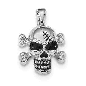 925 Sterling Silver Rhodium Plated Antiqued Enameled Skull Shaped Pendant