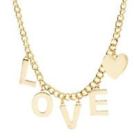 Love Charm Chain Necklace by Charlotte Russe - Gold