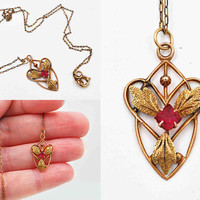 Antique Victorian 10K Yellow Gold Pendant Necklace, Lavalier, Red Ruby Glass, Heart Shape, Leaves, Gold Filled Chain, Lovely! #c416
