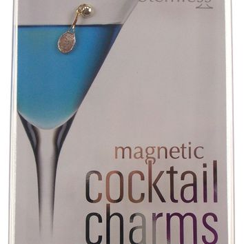 Going Stemless Tennis Themed Magnetic Cocktail Charms Set 6 Wine Drinks