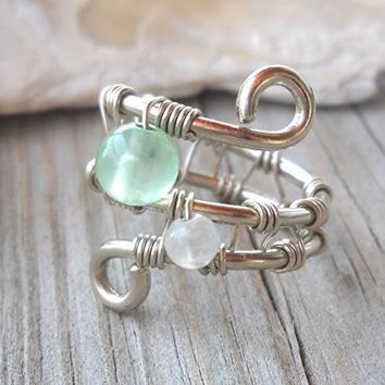 Jade,Rainbow Moonstone Wrapped 925 Sterling Silver Wire Swirl Ring